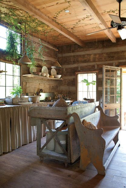 Photo Credit: Emily Followill. Fig vines growing wild in the kitchen: Kitchens Interiors, Kitchens Design, Cabin Kitchens, Rustic Kitchens, Rustic Cabin, Pots Sheds, Cabin Fever, Church Pew, Logs Cabin