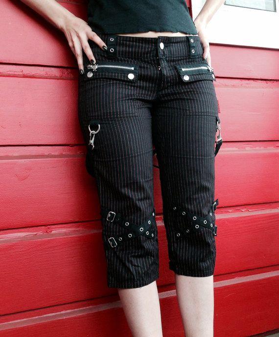 90's Tripp Bondage Goth Punk Rockabilly Pinstripe Capri Pants on Etsy