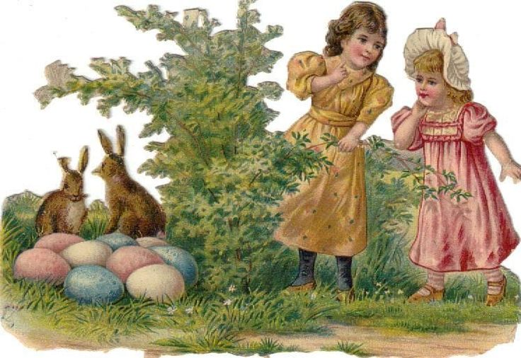 Victorian Die Cut Scrap Little Girls Find Easter Bunnies & Eggs c1880