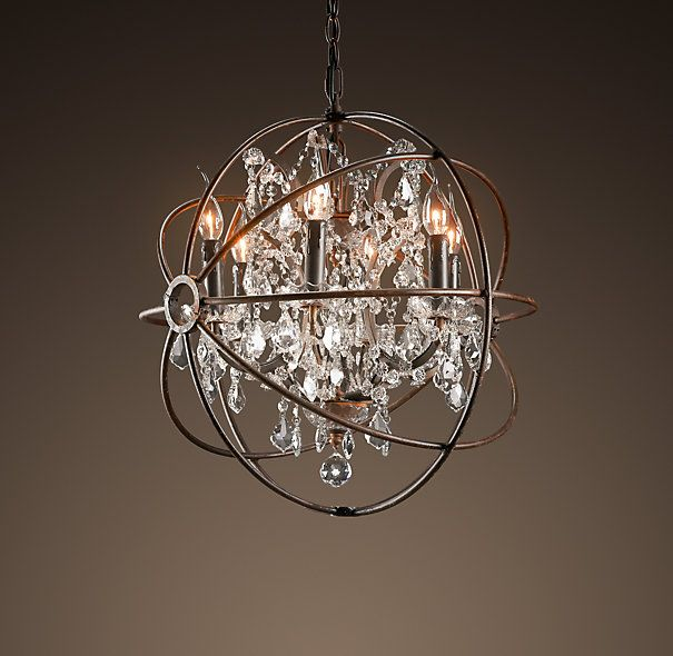 Foucault 39 s orb crystal chandelier rustic iron small ceiling restoration hardware - Small spaces restoration hardware set ...