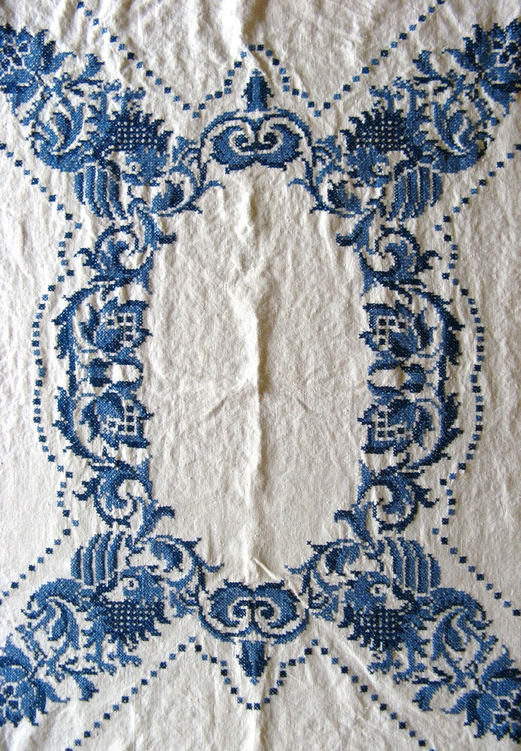 Cross Stitch Embroidered Linen Tablecloth. $38.00, via Etsy.