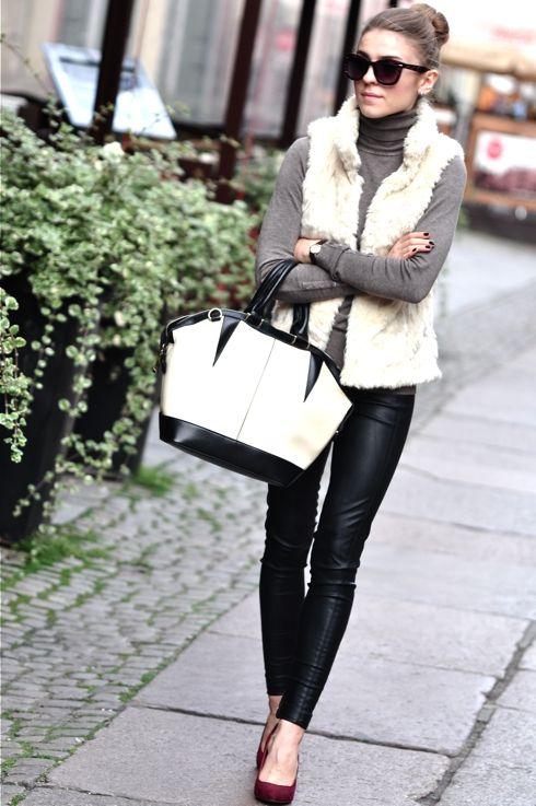 soft cream vest, grey turtleneck, leather skinnies, port heels