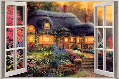Huge 3D Window Fairy Tale Fantasy Cottage View Wall Sticker Art Decal 534