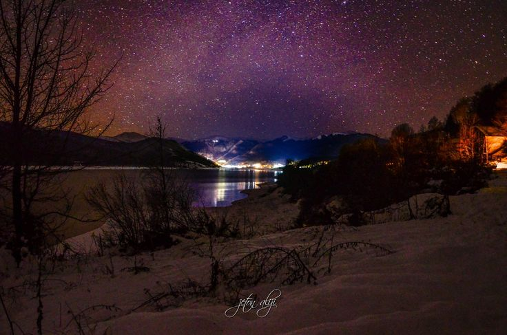 General 1923x1274 lights long exposure nature clouds winter snow lake sea