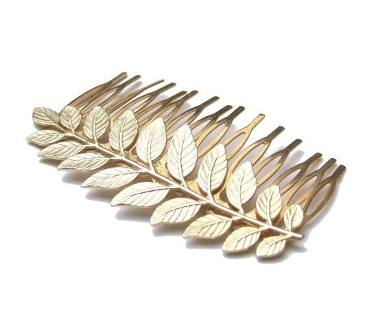 15% OFF SALE,Bridal  Hair Comb, Leaf Hair Comb,Greece Goddess, Gold Hair Comb, Grecian Hair Piece, Wedding Hair Comb