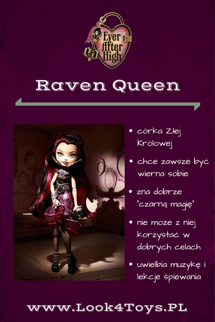 "Raven Queen - córka Złej Królowej z baśni ""Królewna Śnieżka i siedmiu krasnoludków"". Raven Queen mieszka i uczy się w Ever After High. #RavenQueen #EverAfterHigh #Look4ToysPL"