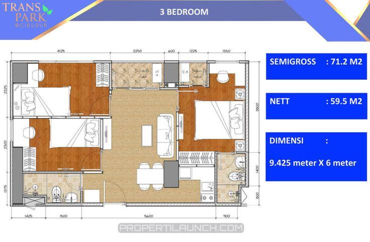 Denah 3 bedroom apartemen Trans Park Cibubur