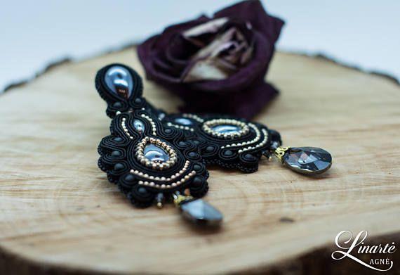 Exclusive long Swarovski earrings Soutache jewelry