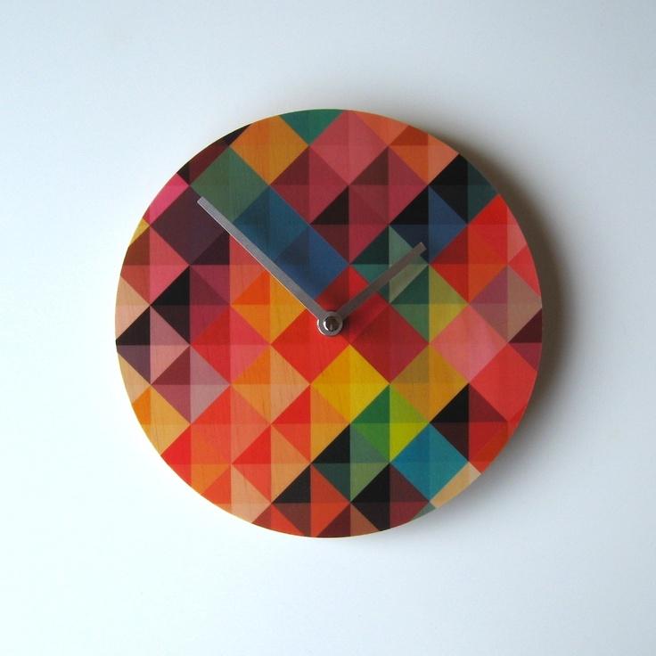 Objectify Grid2 Wall Clock - hardtofind. $32.00 #hardtofind #colours #shapes #clocks #time #patterns
