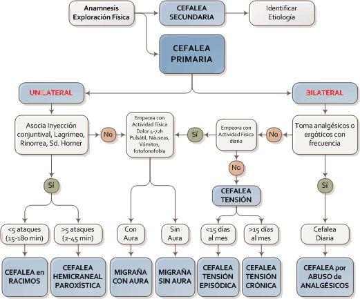 Aprende a distinguir los diferentes tipos de cefaleas: Tensional, Migraña común, Migraña clásica, Migraña complica, Cefalea en racimos, etc