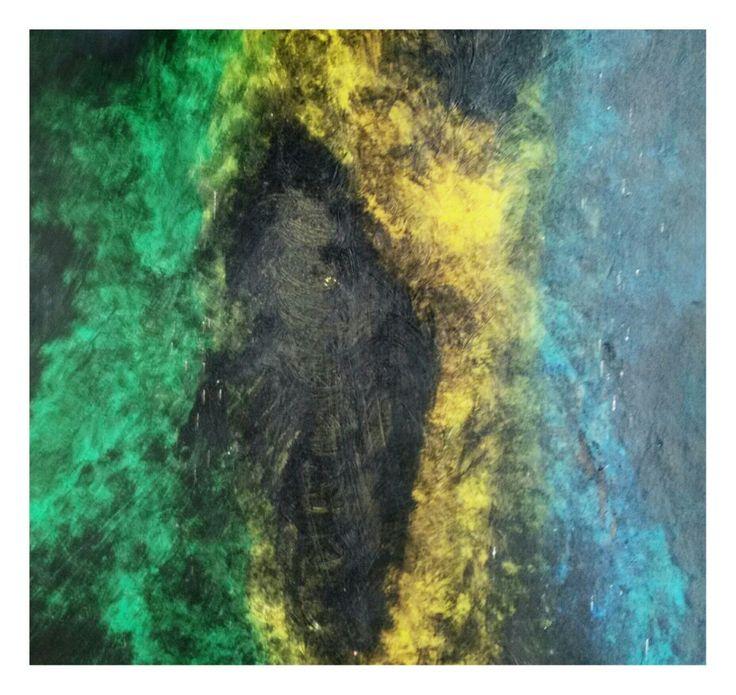 Abstract painting, mixed technique, acrilic, pastel on drywood. 58 cm x 58 cm By Oscar Cardenas.