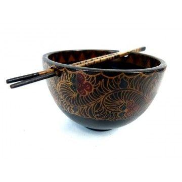 Bowl and Chopsticks Wood Batik Detail