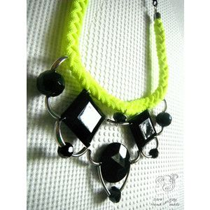 Neon Yellow and Black Statement Necklace Bib Necklace