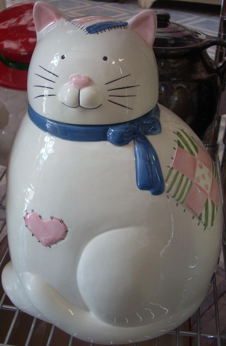 Charming Kitty Cat cookie jar  $34.00  www.jazzejunque.com
