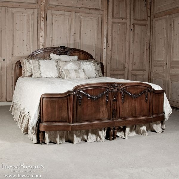 antique furniture antique bedroom furniture beds louis xvi walnut king bed www - Antique Bedroom Decor