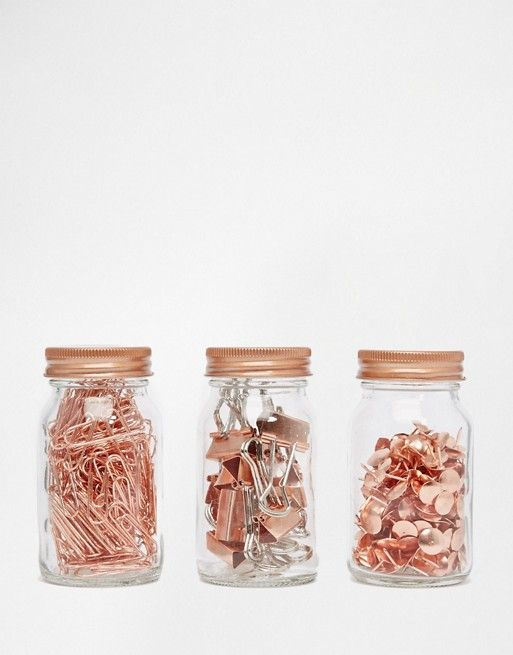 Paperchase | Paperchase Get Organised Set of 3 Copper Clip & Pin Jars