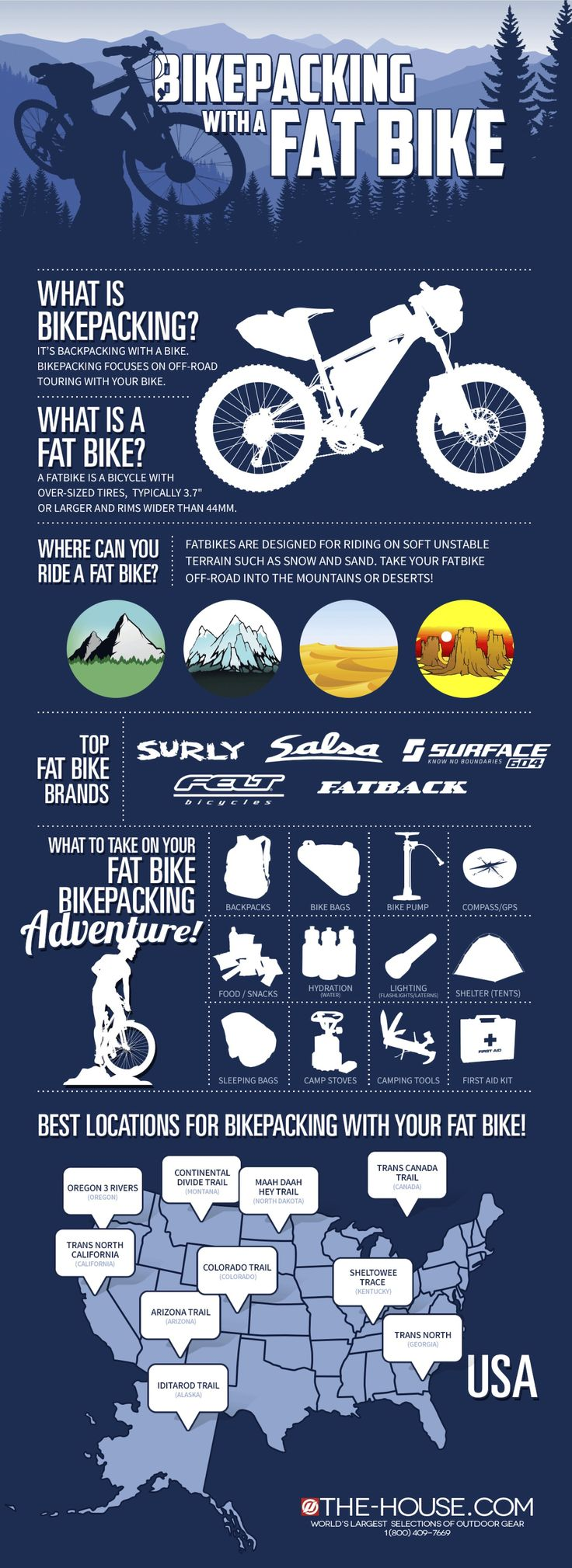 Have you ever tried biking with a fat bike? Fat bikes are awesome for outdoor adventures! Their oversized tires makes it easy to go through mountains, deserts, and other tough territories. These bikesare perfect for bikepacking (backpacking with a bike) adventures.  This inforgraphic offers a closer look at what bikepacking is and what a fat bike is.