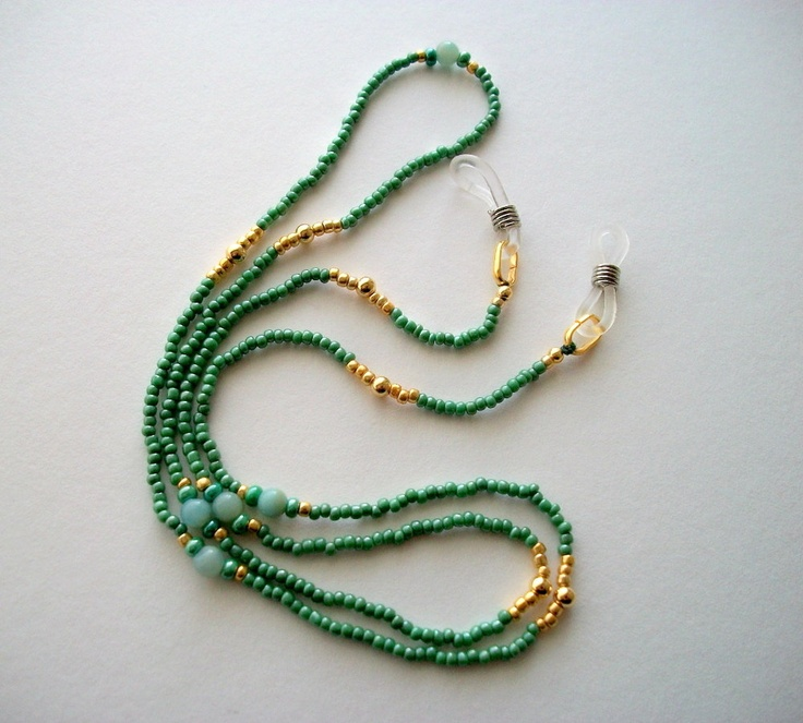 Green Eyeglass Necklace Beaded Holder or Lanyard with Amazonite Beads