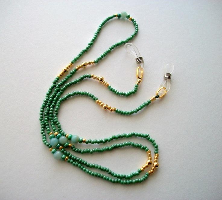 Green Eyeglass Necklace Beaded Holder or Lanyard with Amazonite Beads