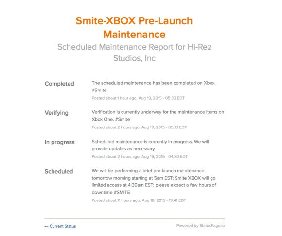 There were two Smite maintenance updates today; both begun at 04:30 EDT for the Smite Xbox One pre-launch, and the other for the PC 2.12 HotFix.