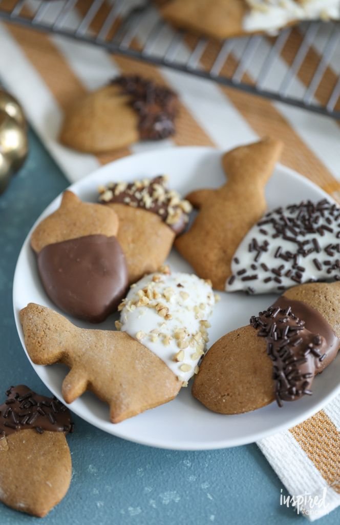 Chocolate Dipped Gingerbread Cookies Shaped Liked Acorns And