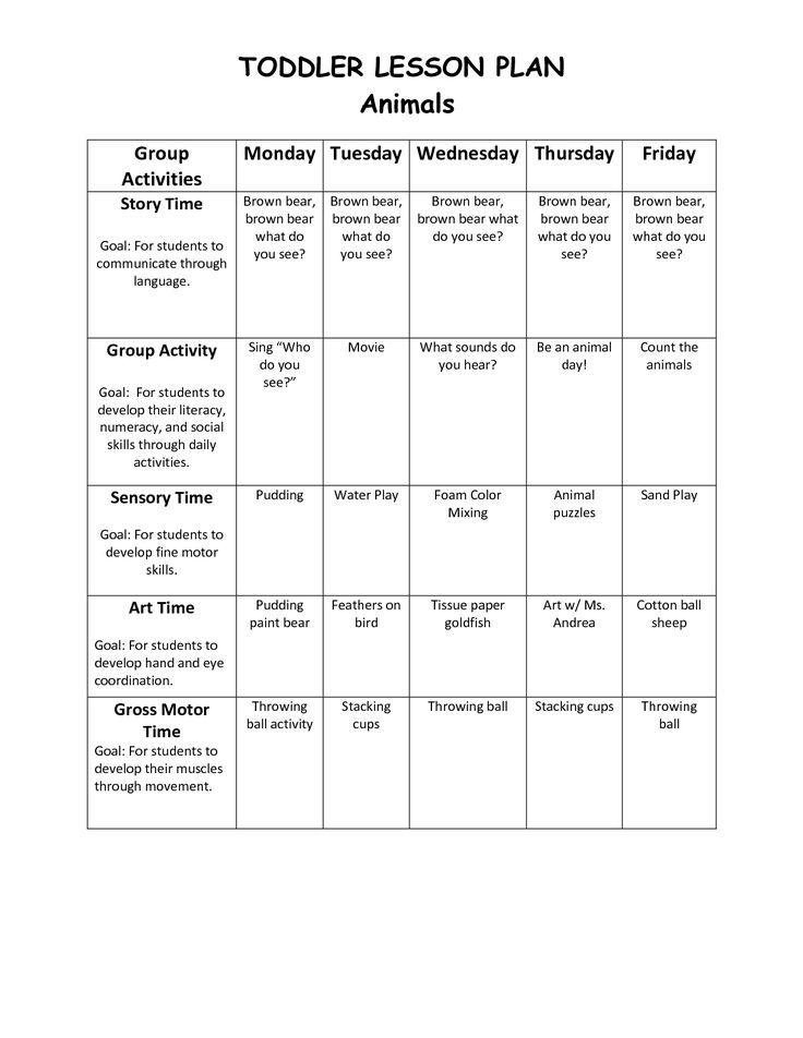 Infant Blank Lesson Plan Sheets Toddler Lesson Plan 1 Toddler