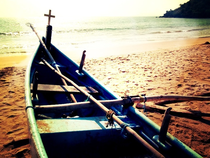 India, Goa, Boat on the beach