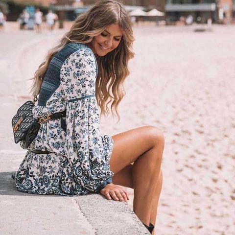 Boho Hippie Patchwork Lace Floral Print Autumn Dress