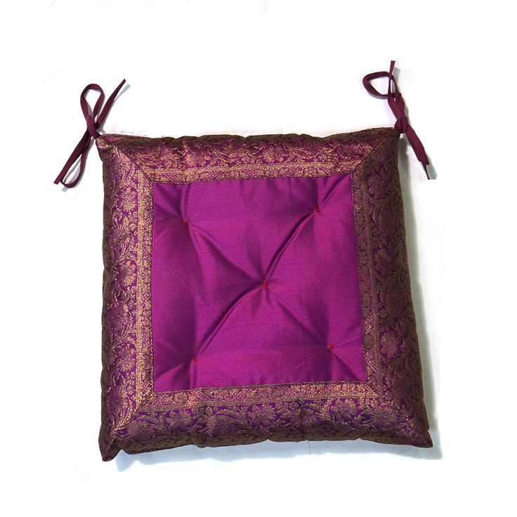 Made from iridescent sari fabric in purple with a gold embroidered brocade and a pair of tie-on tapes. Buy online today!