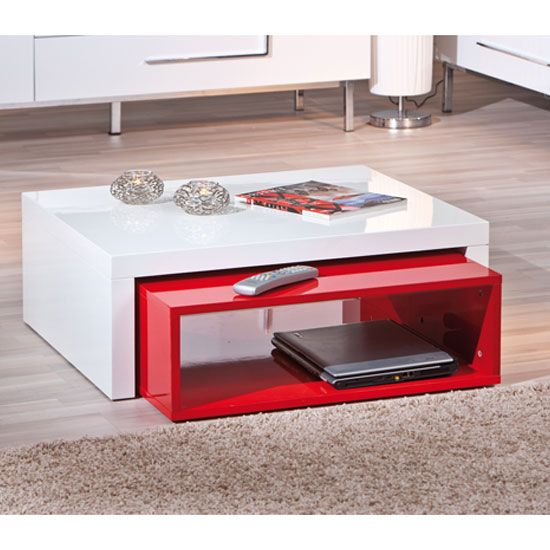 Exceptional Elko Extendable Storage Coffee Table In White And Red Gloss | Furniture |  Pinterest