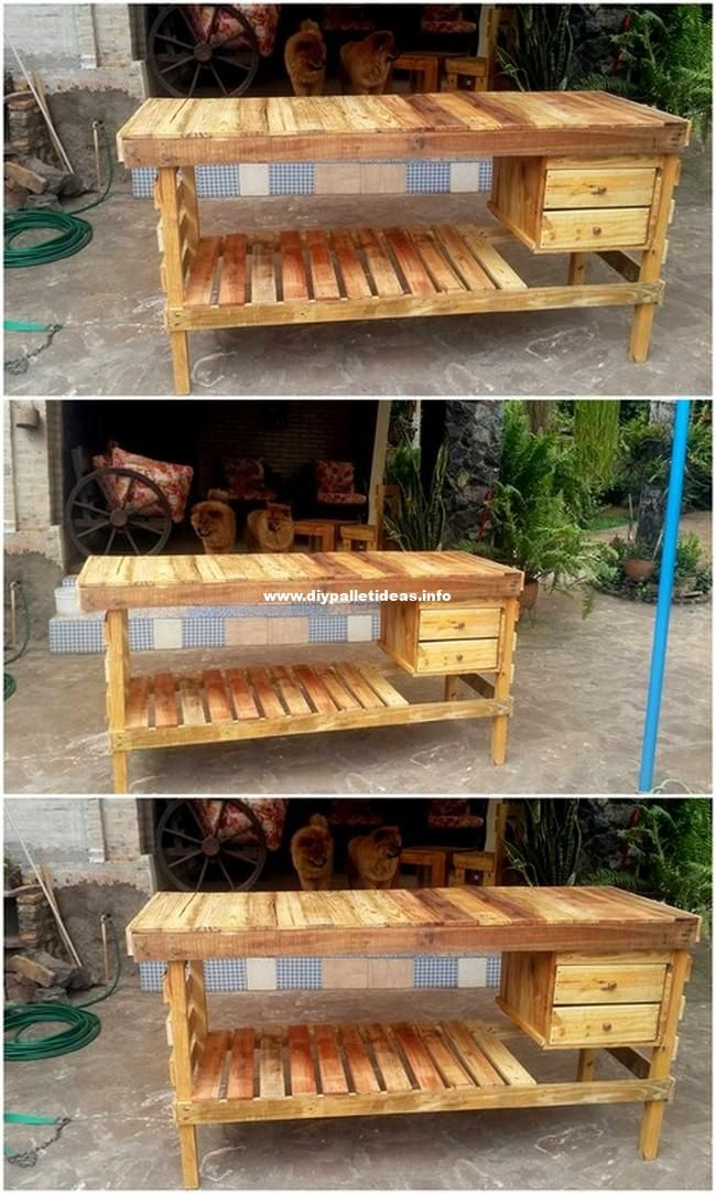 Excellent Wooden Pallets Iron Stand With Drawer Wood Pallet
