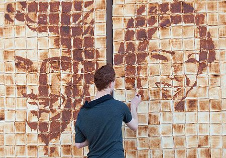 Nathan Wyburn paints with jam and marmite on toast