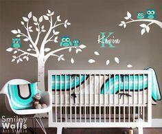 Wandtattoos - Eulen Baum Wandtattoo für Kinderzimmer Babyzimmer - ein Designerstück von Smileywalls bei DaWanda