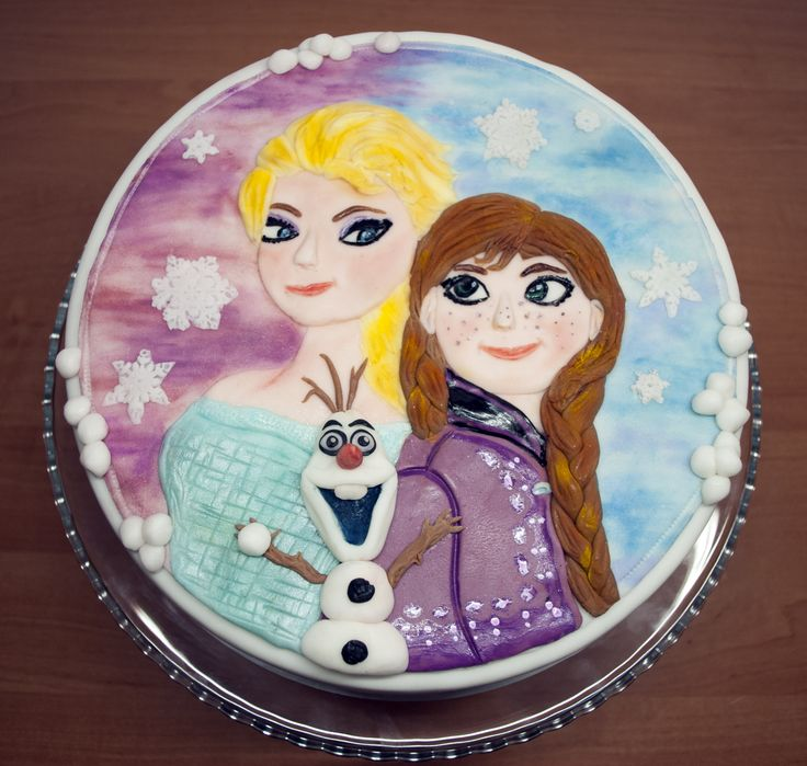 Dort s Annou, Elsou a Olafem z Ledového království. Cake with Anna, Elsa and Olaf from Frozen.