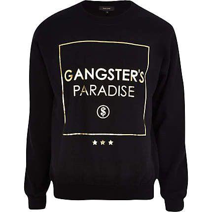 Black gangster's paradise print sweatshirt £25.00