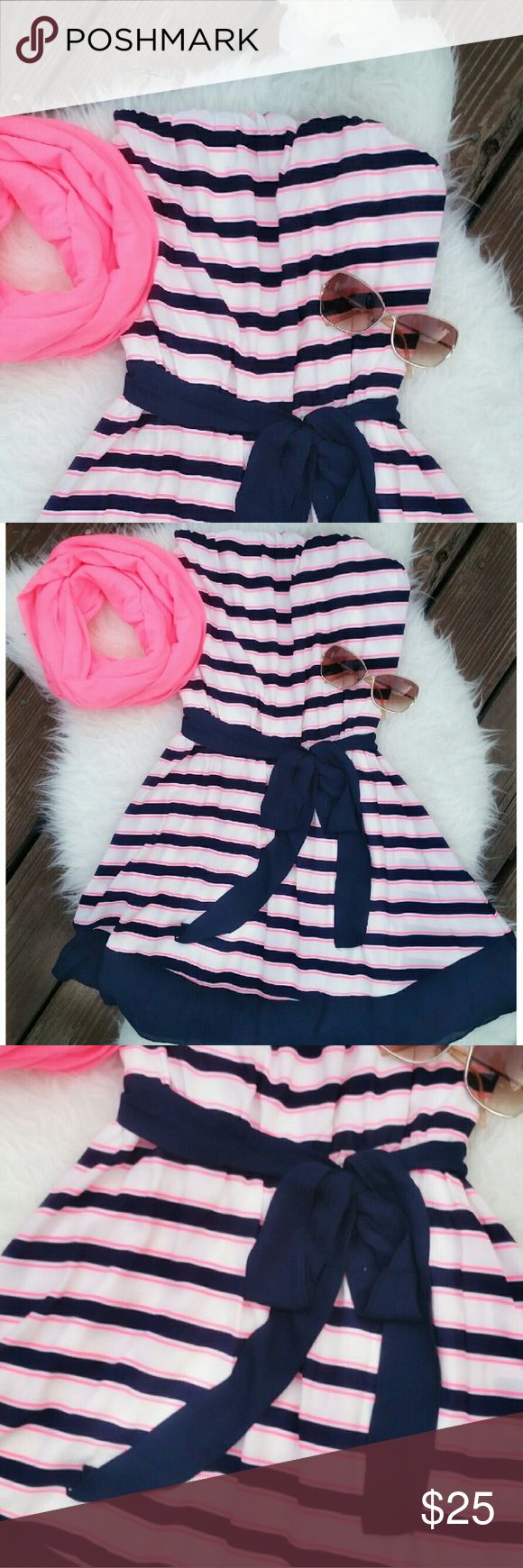 NEW ARRIVAL! Neon Pink n Navy Strapless Dress Super Femmy dress for the summer!! Neon pink n Navy Blue stripped with belt for bow.  Knee lenght  Elastic around the bust for comfort  Light fabric, lined, not see thru Dresses Midi