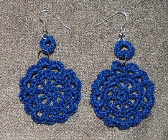 """""""Evangeline"""" Blue Flower Hand Crocheted Earrings.:"""