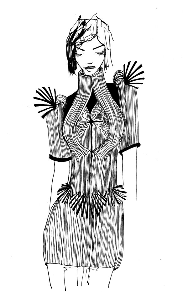 My favorite.    Illustration by Inge Duiker of Iris van Herpen's design.