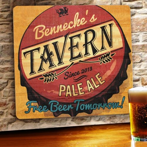 """Man cave decor: """"Free Beer Tomorrow"""" Customized Wood Sign"""