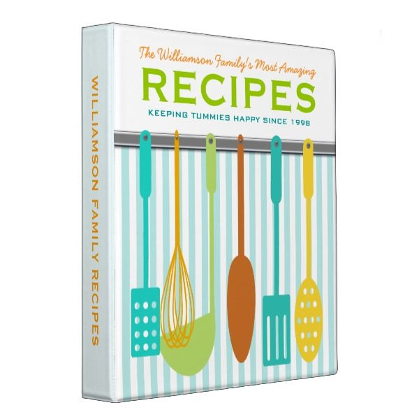Retro Look Family Recipes Personalized 3 Ring Binder -  Fun retro/vintage look kitchen utensils on the wall on this personalized recipe binder - customize the text to make this... #custom #print on demand art themed #gift #binder design by #reflections06 - #binder #retro #vintage #recipe #cookbook #family #cooking ...