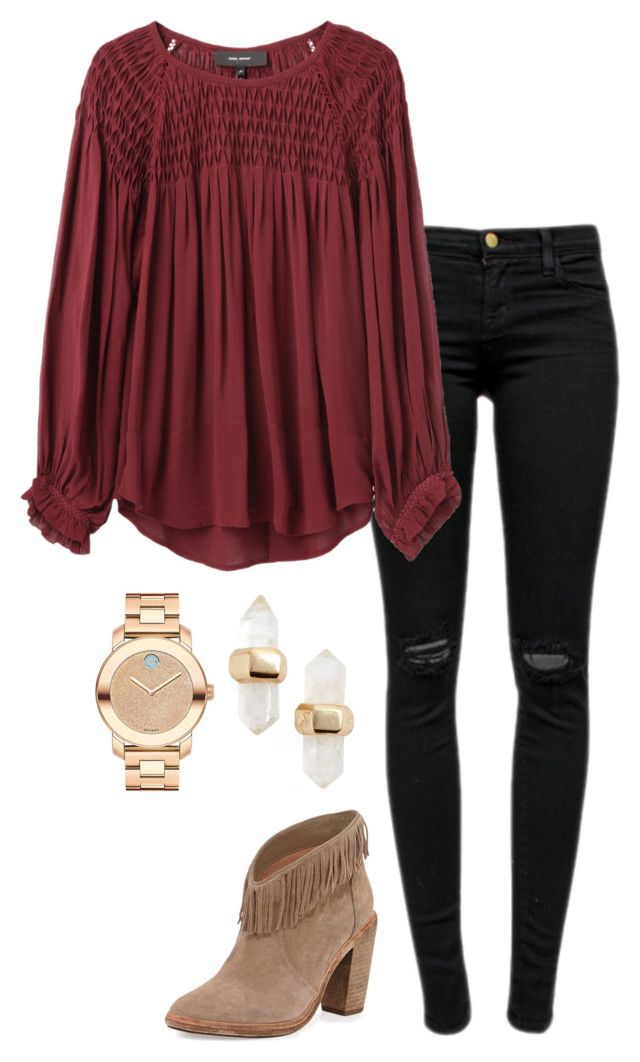 """holiday outfit"" by helenhudson1 ❤ liked on Polyvore featuring Joie, J Brand, Isabel Marant, Kendra Scott and Movado"