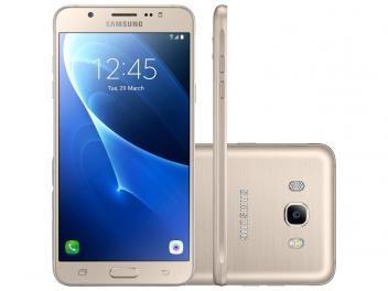 """Smartphone Samsung Galaxy J5 Metal 16GB Dourado - Dual Chip 4G Câm 13MP + Selfie 5MP Flash Tela 5.2"""" - com as melhores condições você encontra no Magazine Shopspremium. Confira!"""