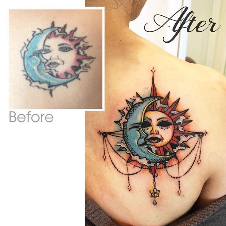 Sun and moon fix-up by Helen (@meowl_tattoos) done at Chronic Ink Tattoo - Toronto, Canada