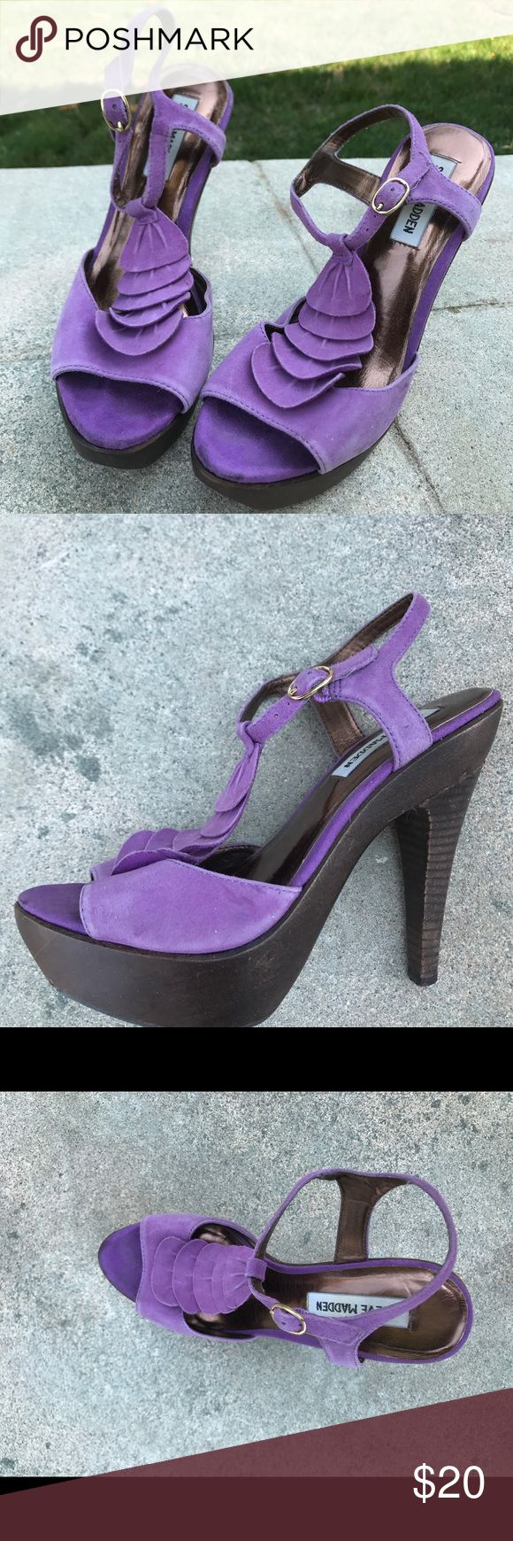 Truffle - Steve Madden heels Purple ruffle t-bar heeled sandal. Heel measures 5 inches high. Peep toe design. Some wear noticeable on the back of the heel ( see picture). Bought these when I saw them worn by Silver on 90210! Steve Madden Shoes Heels