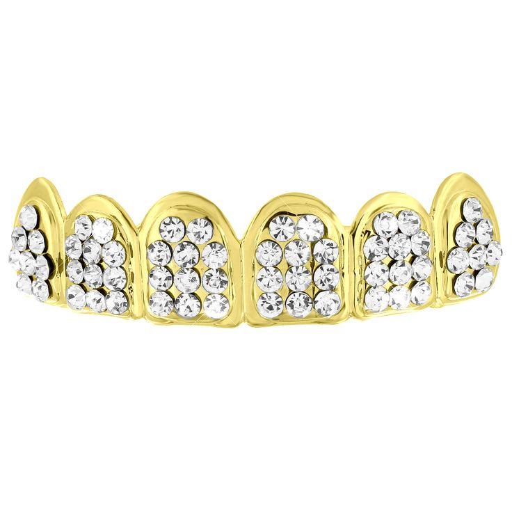 Lab Diamond Yellow Gold Finish Top Teeth Grillz