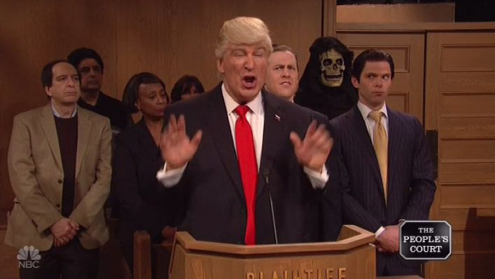 Alec Baldwin's Trump Takes Federal Judges to 'People's Court' on 'SNL'  I signed a tremendous travel ban. I didnt read it but I signed it Baldwin said as Trump.  read more