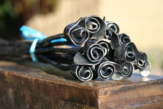 One Dozen Hand Forged Mini Roses -- from FreakofMetal on Etsy.com -- $75