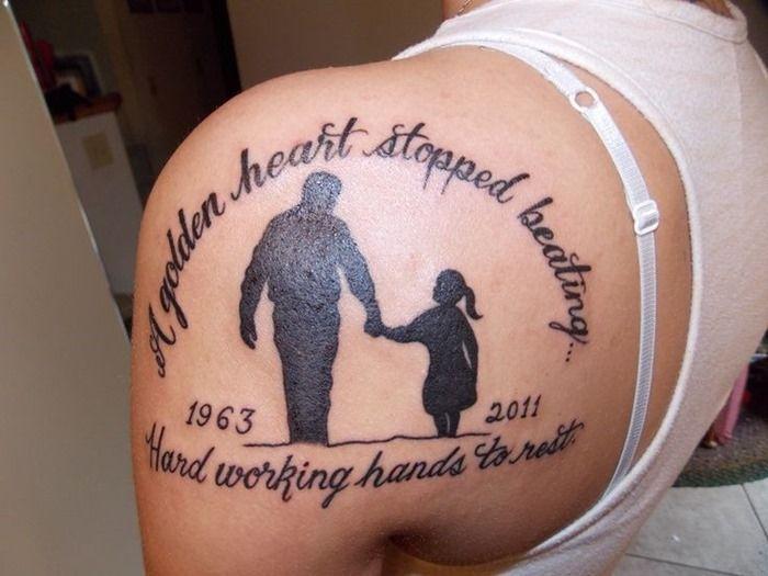 Female Shoulder Memorial Tattoos for Dad
