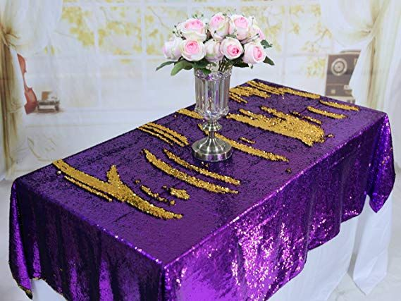 Trlyc Christmas Gold And Purple Mermaid Wedding Sequin Tablecloth