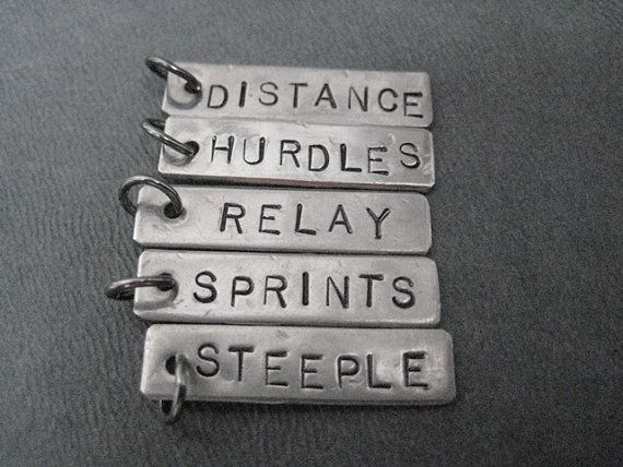 ONE (1) Track DISTANCE or EVENT Pendant Only - 100 meters up to 10,000meters or  Sprints, Relay, Hurdles, Distance, Steeple - Add On Pendant on Etsy, $4.00